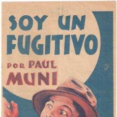 Cine: SOY UN FUGITIVO PROGRAMA PASQUIN WARNER PAUL MUNI GLENDA FARRELL PRESTON FOSTER. Lote 29203322