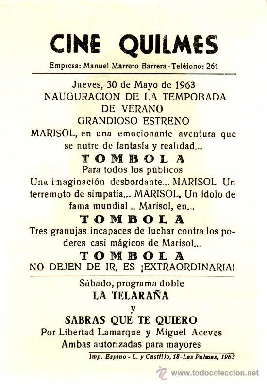 Cine: TOMBOLA. MARISOL. AÑO 1962 PROGRAMAS DE CINE- ¡COLECCIONALOS! - Foto 2 - 27010597