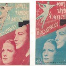 Cine: LA MELODIA DE BROADWAY 1938 COLECCION DE 2 PROGRAMAS DOBLES MGM ROBERT TAYLOR ELEANOR POWELL. Lote 29224073