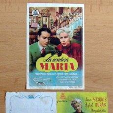 Cine: LA CONDESA MARIA - PELICULA DE 1942 INTERPRETADA POR LINA YEGRÓS Y RAFAEL DURÁN. Lote 29229458
