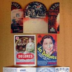 Cine: LA DOLORES - AÑO 1939 INTERPRETADA POR CONCHITA PIQUER - 4 PROGRAMAS DIFERENTES - CON PUBLICIDAD. Lote 29229753
