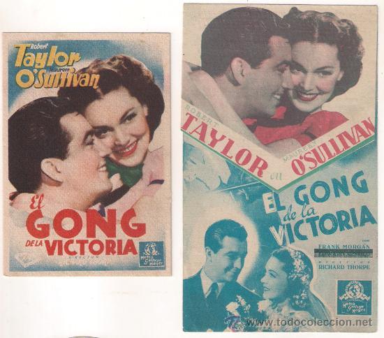 EL GONG DE LA VICTORIA COLECCION DE 2 PROGRAMAS TARJETA Y DOBLE TROQUELADO MGM ROBERT TAYLOR (Cine - Folletos de Mano - Acción)