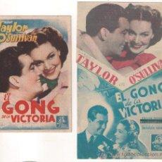 Cine: EL GONG DE LA VICTORIA COLECCION DE 2 PROGRAMAS TARJETA Y DOBLE TROQUELADO MGM ROBERT TAYLOR . Lote 29230050