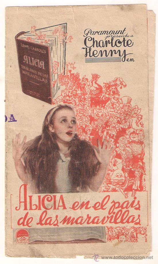 ALICIA EN EL PAIS DE LAS MARAVILLAS PROGRAMA DOBLE PARAMOUNT GARY COOPER CARY GRANT LEWIS CARROLL (Cine - Folletos de Mano - Infantil)