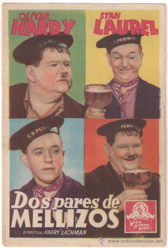 DOS PARES DE MELLIZOS PROGRAMA SENCILLO MGM STAN LAUREL Y OLIVER HARDY (Cine - Folletos de Mano - Comedia)