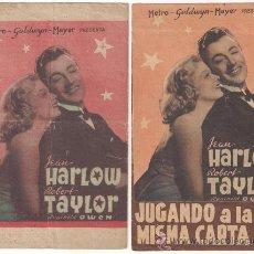 Cine: JUGANDO A LA MISMA CARTA COLECCION DE 2 PROGRAMAS DOBLES MGM JEAN HARLOW ROBERT TAYLOR. Lote 29241125