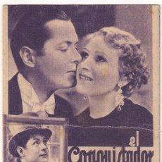 Cine: EL CONQUISTADOR IRRESISTIBLE PROGRAMA TARJETA MGM ROBERT MONTGOMERY HEATHER THATCHER. Lote 29242953
