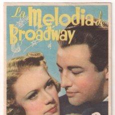 Cine: LA MELODIA DE BROADWAY (1938) PROGRAMA SENCILLO MGM SELLO AZUL ROBERT TAYLOR ELEANOR POWELL. Lote 29251778