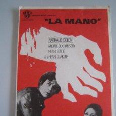 Cine: LA MANO WARNER - FOLLETO DE MANO ORIGINAL DEL ESTRENO NATHALIE DELON ROGER HANIN. Lote 206403797