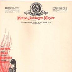 Cine: FUEGO EN LA NIEVE MGM PROGRAMA CARTA SENCILLO GRANDE MGM VAN JOHNSON JOHN HODIAK RICARDO MONTALBAN . Lote 29256737