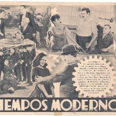 Cine: TIEMPOS MODERNOS PROGRAMA SENCILLO CHARLES CHAPLIN PAULETTE GODARD RARO. Lote 29258631