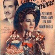 Cine: CANTO A LAS AMÉRICAS.- PROGRAMA DOBLE.- TEATRO PRINCIPAL, ALCOY.. Lote 29282814