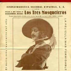Cine: LOS TRES MOSQUETEROS 1932 , DOBLE TAMAÑO FOLIO MUY RARO , CON CINE , ORIGINAL , S1929. Lote 29308260