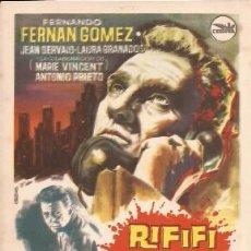 Cine: FOLLETO O PROGRAMA DE MANO RIFIFI EN LA CIUDAD, SIN PUBLICIDAD. Lote 29323521