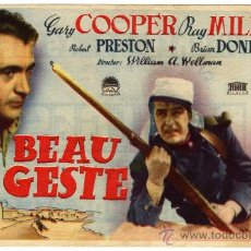 Cine: PROGRAMA CINE - BEAU GESTE - GARY COOPER - RAY MILLAND - ROBERT PRESTON - GONGORA (CORDOBA). Lote 120056746