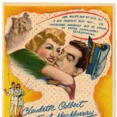 Cine: PROGRAMA CINE - BODAS BLANCAS - CLAUDETTE COLBERT - FRED MAC MURRAY - CINE GONGORA (CORDOBA). Lote 29374092