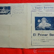 Cine: EL PRIMER BESO, ANNY ONDRA, PROGRAMA DOBLE 1930, EXCELENTE ESTADO CON PUBLICIDAD BARTRINA REUS. Lote 29371138