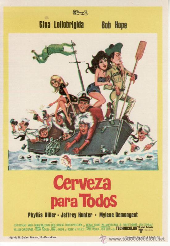 CERVEZA PARA TODOS. BOB HOPE GINA LOLLOBRIGIDA (Cine - Folletos de Mano - Comedia)