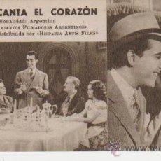 Cine: CUANDO CANTA EL CORAZÓN. TARJETA FICHA DE HISPANIA ARTIS FILMS.. Lote 29450016