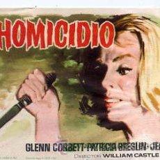 Cine: HOMICIDIO / GLENN CORBETT - PATRICIA BRESLIN (WILLIAM CASTLE 1962) PROGRAMA DE MANO. Lote 29516870
