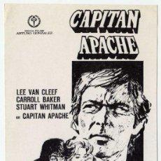 Cine: RARO PROGRAMA CINE - CAPITAN APACHE - LEE VAN CLEEF - CARROLL BAKER - ILUSTRADOR MONTALBAN. Lote 30236076
