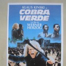 Cine: COBRA VERDE KLAUS KINSKI - FOLLETO DE MANO LOCAL ORIGINAL ESTRENO. Lote 33248965