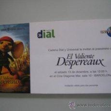 Cine: EL VALIENTE DESPERAUX - FOLLETO DE MANO ORIGINAL INVITACION. Lote 29709476