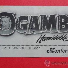 Cine: MOGAMBO, CLARK GABLE, AVA GARDNER, DOBLE MGM, 1955 EXCELENTE ESTADO CON PUBLI MONTERROSA REUS. Lote 29728329