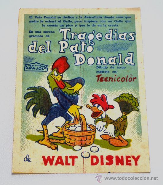 TRAGEDIAS DEL PATO DONALD. WALT DISNEY (Cine - Folletos de Mano - Infantil)