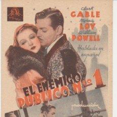 Cine: EL ENEMIGO PÚBLICO Nº 1. PROGRAMA TARJETA DE MGM. ¡IMPECABLE!. Lote 29848904
