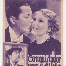 Cine: EL CONQUISTADOR IRRESISTIBLE. PROGRAMA TARJETA DE MGM. CINE LÍRICO. FECHA ESCRITA EN DORSO (1932). Lote 29940711
