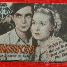 Cine: RAMUNCHO, PROGRAMA DOBLE, ORIGINAL CON PUBLICIDAD PRINCIPAL CINEMA. Lote 29953113