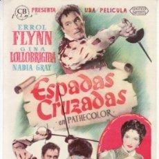Cine: ESPADAS CRUZADAS.ERROL FLYNN, GINA LOLLOBRIGIDA. CON PROPAGANDA. Lote 29953388
