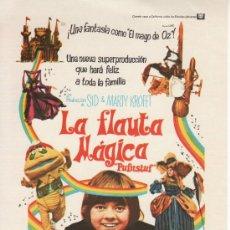 Cine: LA FLAUTA MAGICA . SIN PROPAGANDA. Lote 29956439