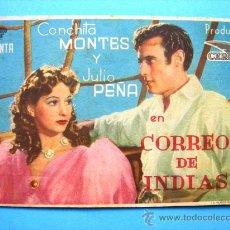 Cine: CORREO DE INDIAS. SENCILLO CON PUBLICIDAD. AÑO 1943. Lote 29959409