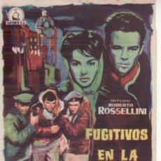 Cine: FUGITIVOS EN LA NOCHE- PROGRAMA DE CINE.CON PROPGANDA.. Lote 29974645