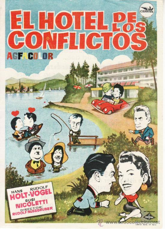 EL HOTEL DE LOS CONFLICTOS. FOLLETO CON PROPAGANDA. (Cine - Folletos de Mano - Aventura)
