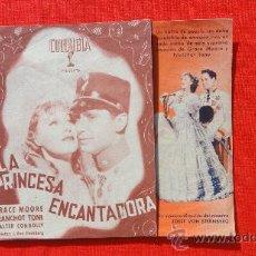 Cine: LA PRINCESA ENCANTADORA, GRACE MOORE, FRANCHOT TONE, IMPECABLE DOBLE 1937, PUBLI CINE SALÓ MODERN. Lote 29991730