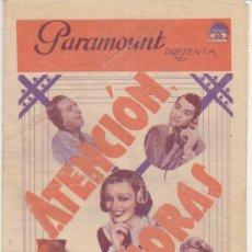 Cine: ATENCIÓN SEÑORAS. DOBLE DE PARAMOUNT. CINE GADES 1935.. Lote 29994951