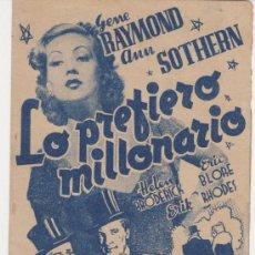 Cine: LO PREFIERO MILLONARIO. DOBLE DE RKO RADIO.. Lote 30064915