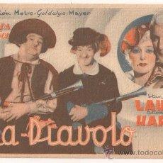 Cine: FRA DIAVOLO PROGRAMA TARJETA MGM STAN LAUREL OLIVER HARDY. Lote 30071895