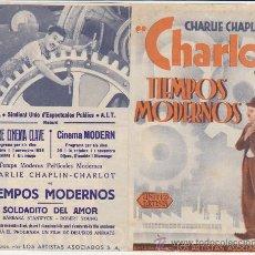 Cine: TIEMPOS MODERNOS. DOBLE DE UNITED ARTISTS. TEATRE CINEMA CLAVE Y CINEMA MODERN 1936.. Lote 30186805