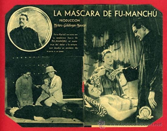 Cine: LA MASCARA DE FU MANCHU FUMANCHU, BORIS KARLOFF , DOBLE , ORIGINAL, CON CINE , S1939 - Foto 2 - 30211834