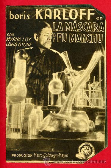 LA MASCARA DE FU MANCHU FUMANCHU, BORIS KARLOFF , DOBLE , ORIGINAL, CON CINE , S1939 (Cine - Folletos de Mano - Terror)