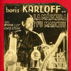 Cine: LA MASCARA DE FU MANCHU FUMANCHU, BORIS KARLOFF , DOBLE , ORIGINAL, CON CINE , S1939. Lote 30211834