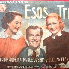 Cine: PROGRAMA DOBLE CON PUBLICIDAD. ESOS TRES.. Lote 30257406