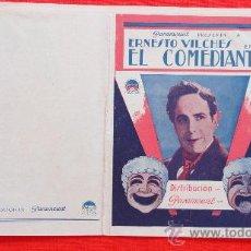 Cine: EL COMEDIANTE, ERNESTO VILCHES, ANTIGUO PROGRAMA DOBLE AÑOS 30 PARAMOUNT, EXCELENTE ESTADO SP. Lote 30248117