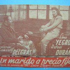 Cine: UN MARIDO A PRECIO FIJO. DOBLE CON PUBLICIDAD.. Lote 30268360