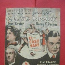 Flyers Publicitaires de films Anciens: EL CASO VARE. DOBLE CON PUBLICIDAD. Lote 30286457