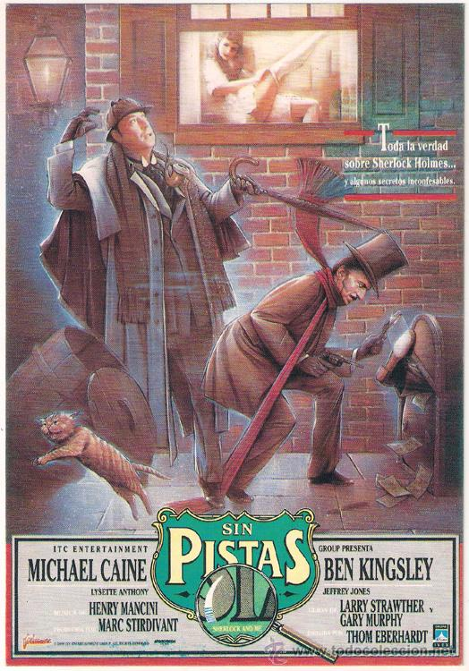SIN PISTAS PROGRAMA TARJETON FILMAX SHERLOCK HOLMES MICHAEL CAINE BEN KINGSLEY (Cine - Folletos de Mano - Suspense)